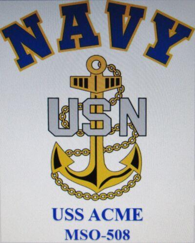 U.S NAVY W// ANCHOR* SHIRT USS STALWART  MSO-493* MINESWEEPER