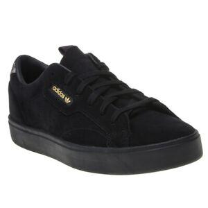New Womens adidas Black Sleek Suede