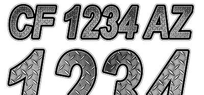 Diamond Plate Custom Boat Registration Numbers Decals Vinyl Lettering Stickers