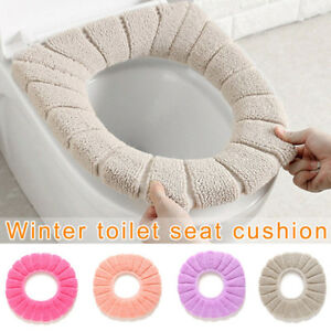 Velvet Coral Bathroom Toilet Seat Cover Washable Comfortable Soft Cushion New