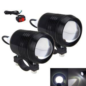 2X-30W-U2-Spot-LED-de-Conduccion-Faros-Moto-Bicicleta-Lampara-Luz-de-niebla-con-interruptor