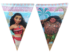 Disney-Moana-drapeau-banniere-Bunting-Enfants-Fete-D-039-Anniversaire-Decoration-Garcons-Filles