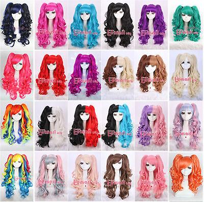 Girls Lolita Curly Split Type Lori Clip On Ponytails Womens Anime Cosplay Wig