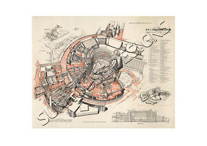 BBC Television Centre TVC new large 1958 Architects drawing plan - High Wycombe, Buckinghamshire, United Kingdom - BBC Television Centre TVC new large 1958 Architects drawing plan - High Wycombe, Buckinghamshire, United Kingdom