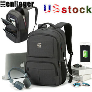 Men's 15.6 inch Laptop Backpack Business Travel College School bag With USB Port