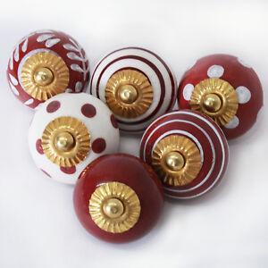 Moebelknoepfe-Set-6-8-10-STK-Griffe-Dunkel-Rot-Weiss-Keramik-Knoepfe-Moebelknopf-bw