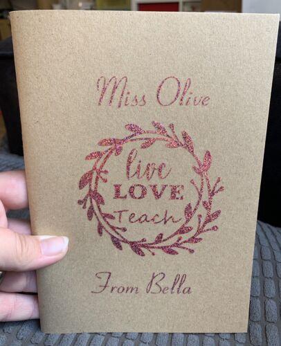 Sketch Book Personalised Notebook Teacher Gift End Of Year Leaving Gift School