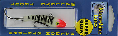 "MOONSHINE LURES SHIVER MINNOW SIZE #2 2-3/4"" 1/2 oz - GLOW BLOODY NOSE"