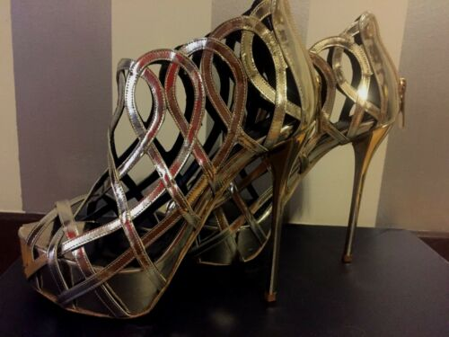 Oscar De La Renta Gold Evening Platform Shoes Size 37