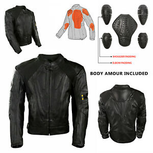 Leather-Motorbike-Motorcycle-Jacket-Short-Touring-CE-Approved-Armoured-Biker