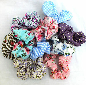 6-DIFFERENT-VINTAGE-STYLE-COTTON-HANDMADE-ELASTIC-PONY-TAIL-HAIR-SCRUNCHIE-BAND