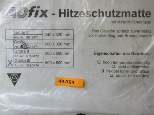 AOfix Hitzeschutzmatte 800 x 500 mm Schweißschutzmatte Brandschaden Funkenflug