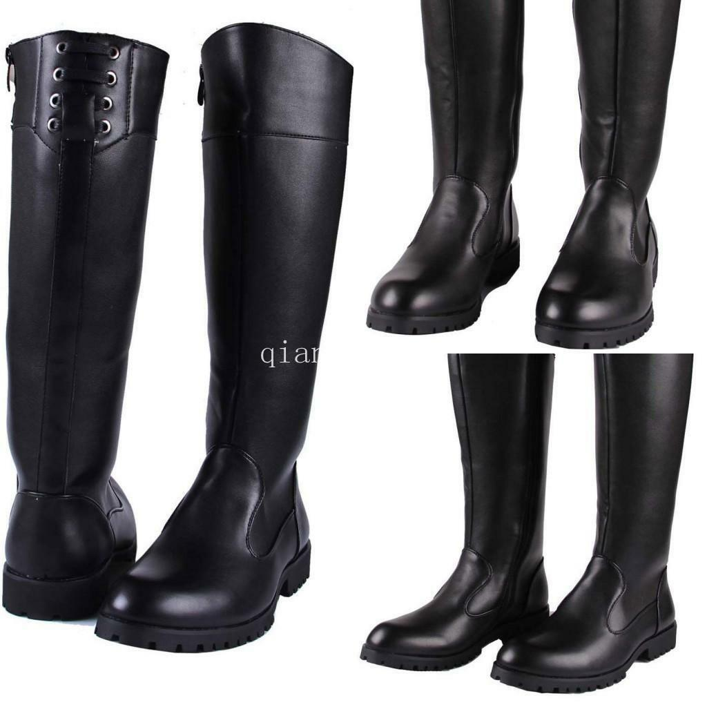 Chic Military Men's Leather Zip Knee High Boots Riding Boots Punk Roman Shoes