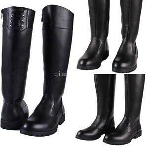 best quality classic most popular Details about Military Men's Leather Zip Mid-Calf Boots Riding Boots Punk  Roman Shoes Black