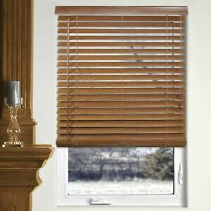 Bamboo Wood Blinds White Oak Walnut 29w X 64l