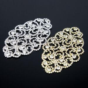 Clear-Rhinestone-Crystal-Beaded-Applique-Bridal-Dress-Sew-On-Sewing-Craft-DIY