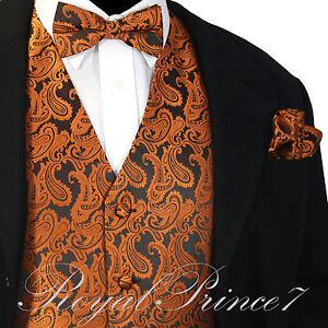 Men/'s paisley Tuxedo VEST Waistcoat /& BOWTIE and HANKIE set formal Brown