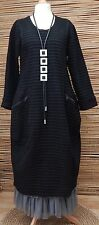 """LAGENLOOK*MB GERMANY*WOOL MIX AMAZING BALLOON QUIRKY DRESS*BLACK*BUST 42-44-46"""""""