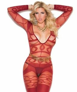 4351c870d9cc Image is loading Sexy-Lingerie-Red-Bodystocking-Women-Plus-Long-Sleeve-