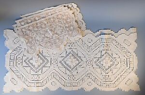 Group of Italy Italian Reticella Lace 2 Runners and 6 Placemats Ivory ca. 20th c