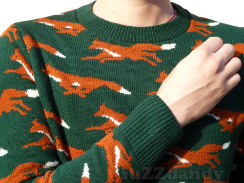 Retrò Verde Country Maglione Natale Kitsch Volpe Caccia Nuovo Indie Vintage 4SUOFw