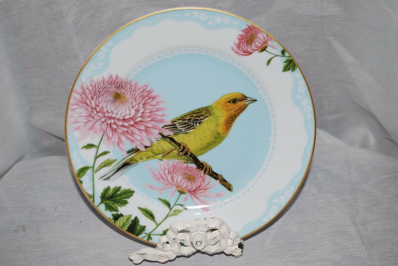 WILLIAMS SONOMA SPRING GARDEN PARTY SALAD PLATES PARAKEET BIRD 9  NEW x4