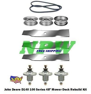 """48/"""" Mower Deck Kit Fits John Deere LA145 LA155 100 Series Blades Spindles 120"""