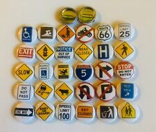 """Street Sign button pins. Lot of 25. More than +100 designs. 1"""" inch buttons. A+"""
