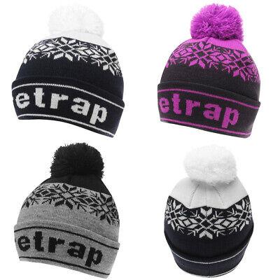 Firetrap Trapper Hat Beanie Faux Fur Padded Cap Black Retro Winter Gift Ski Snow