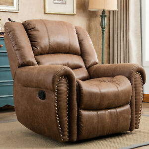 Leather-Manual-Recliner-Chair-Overstuffed-Arms-and-Back-Lounge-Sofa-Living-Room