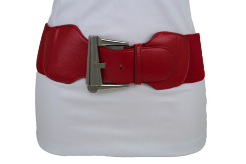 Women Red Wide Elastic Fashion Hip Waist Belt Silver Metal Big Buckle Size S M L