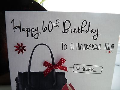 Hecho a mano personalizado Hembra Bolso Bolsa Zapatos tarjeta de cumpleaños 40th 50th 60th