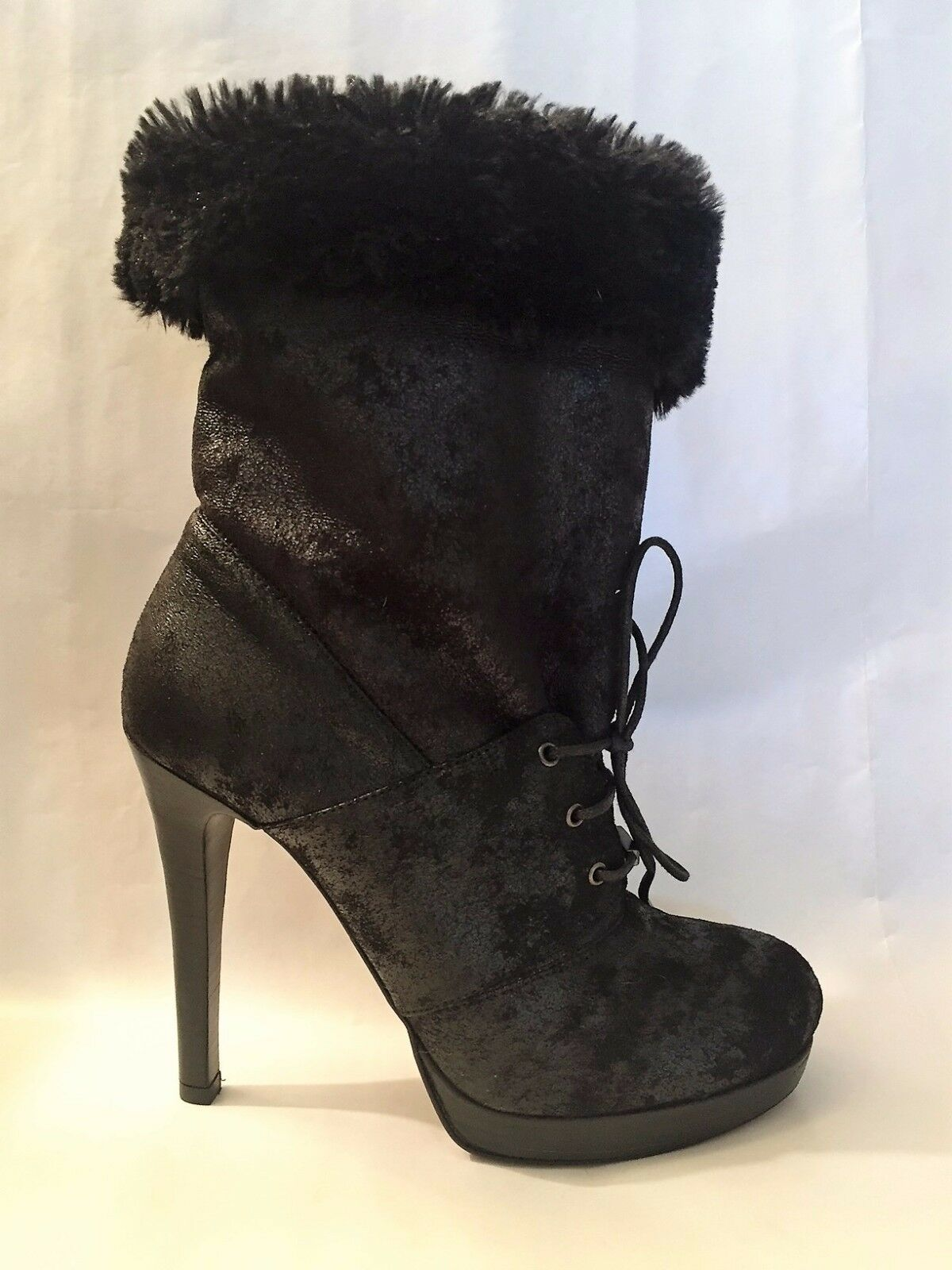 BOTTINES PINKO SUEDE CUIR FOURRURE NEUF TALON PLATEAU SEXY SOLDE OUT