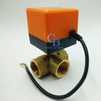 "AC 220V 1/"" BSP DN25 Brass 3 Way Motorized Ball Valve T Type Electrical Valve"