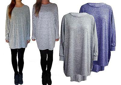Extra Long Baggy Oversized Grey Marl Jumper Dress Long Sleeve Top Tall S M L Billigverkauf 50%