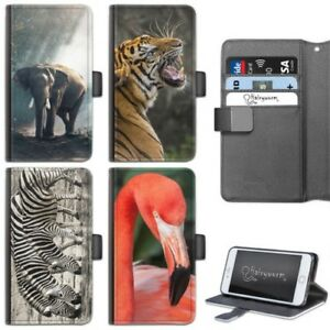 zoo-animaux-etui-iphone-6-7-8-Plus-x-cuir-ETUI-PORTEFEUILLE-RABAT-POUR-APPLE