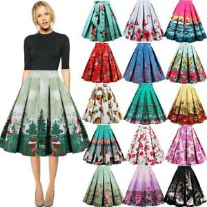 Women-Rockabilly-50s-60s-Pinup-Swing-Dress-High-Waist-Pleated-Skater-Midi-Skirts