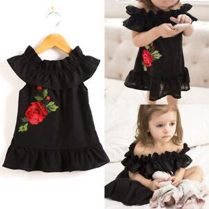 4a137b4c0 Newborn Toddler Baby Girls Flower Rose Summer Sundress Party Dress ...