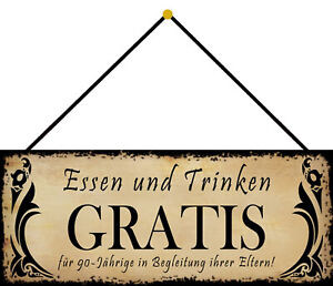 Essen &trinken Free Tin Sign Shield with Cord 10 X 27 CM K0032-K