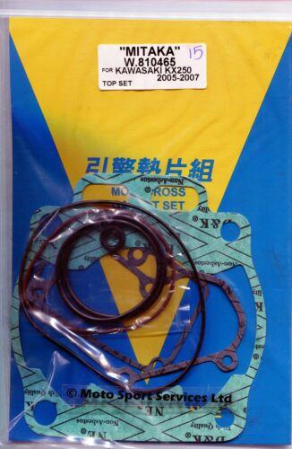 Top End Gasket Set Kawasaki KX250 KX 250 2005 to 2008 Mitaka
