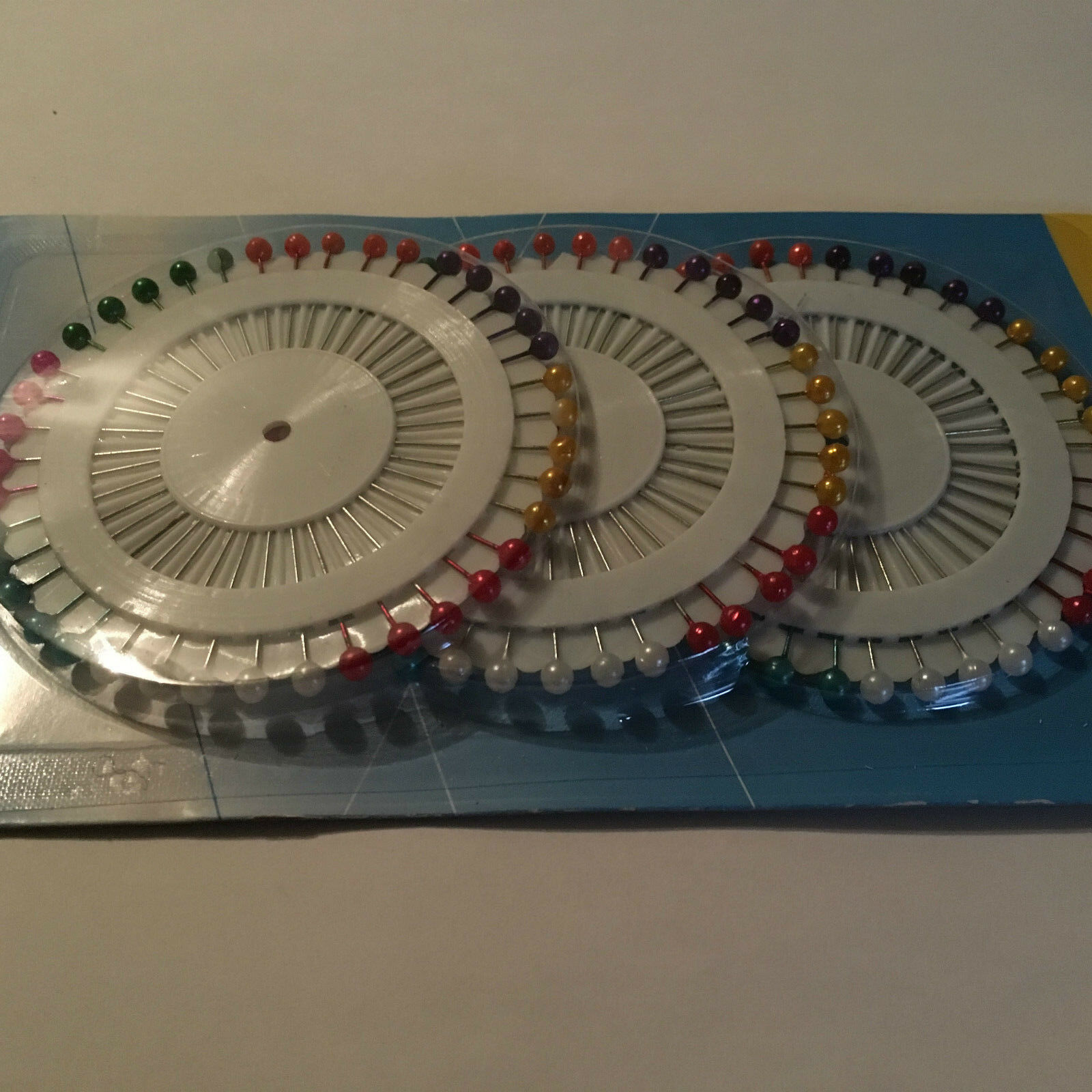 3x40 épingles tête rondes en couleur 3 roues hijab épingle à coudre faux perle