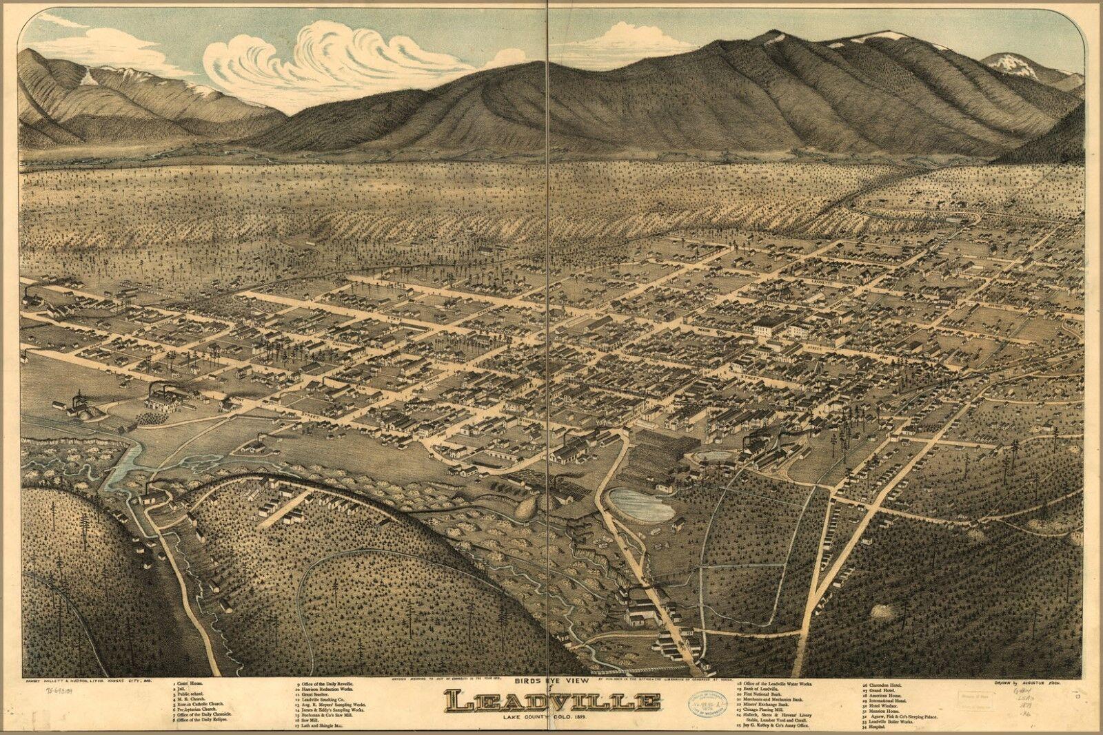 Plakat, Viele Größen; Vogelauge Ausblick Karte von Leadville, Farbeado 1879