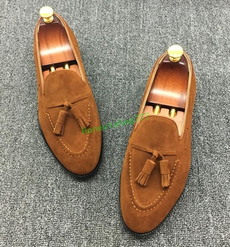 Brogue Mens Stylish Pointed Toe Suede Loafers Cool Tassels Pull On Dress shoes