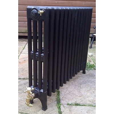 "Antique Victorian 4 column cast iron radiator 14 section, free standing 30"" high"
