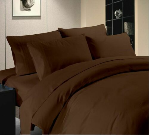 Chocolate Solid 1200 TC 100/% Cotton Deep Pkt Attached Waterbed Sheet Set