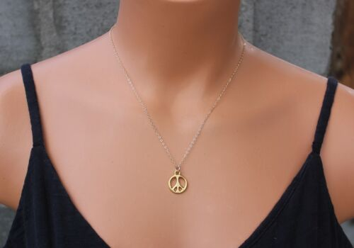 22k gold plated charm USA made 14k gold filled chain Gold peace sign necklace