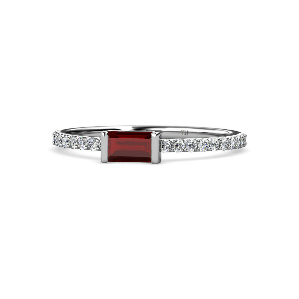 Baguette Red Garnet and Round Diamond Promise Ring 0.50 ctw 14K gold JP 164161