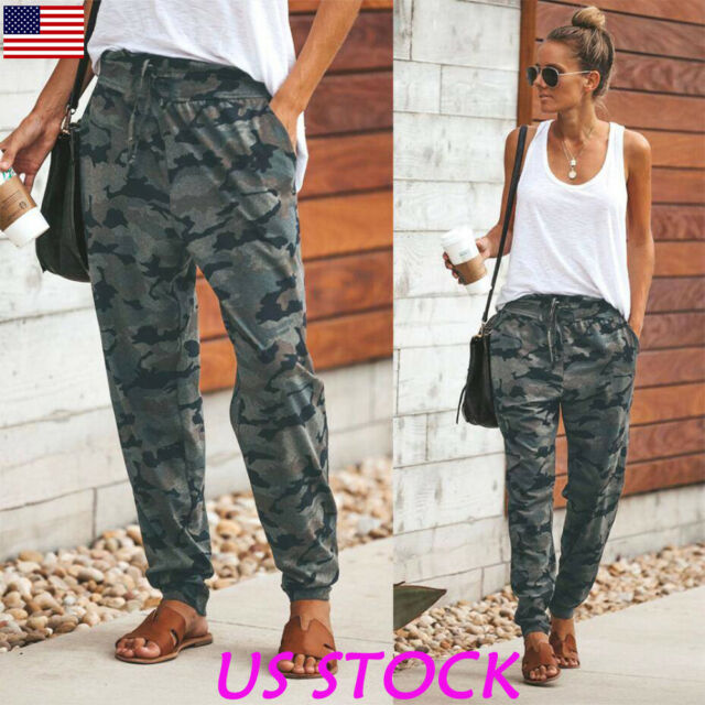 Camouflage Women High Waist Joggers Trousers Ladies Military Cargo Long Pants