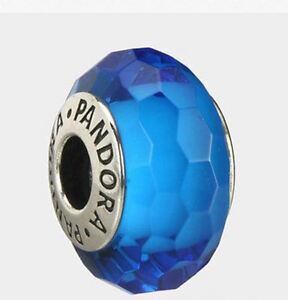 Pandora-Turquoise-Faceted-Murano-Charm-925-ALE-authentic-791607