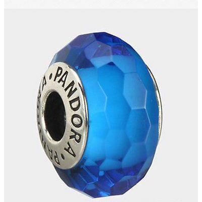 Pandora Turquoise Faceted Murano Charm 925 ALE authentic 791607